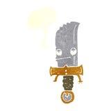 χαρακτήρας κινουμένων σχεδίων μαχαιριών με τη λεκτική φυσαλίδα Στοκ Εικόνα