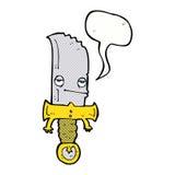 χαρακτήρας κινουμένων σχεδίων μαχαιριών με τη λεκτική φυσαλίδα Στοκ Φωτογραφίες