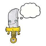 χαρακτήρας κινουμένων σχεδίων μαχαιριών με τη σκεπτόμενη φυσαλίδα Στοκ Εικόνα