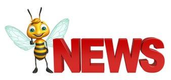 Χαρακτήρας κινουμένων σχεδίων μελισσών με το σημάδι ειδήσεων Στοκ φωτογραφία με δικαίωμα ελεύθερης χρήσης
