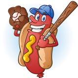 Χαρακτήρας κινουμένων σχεδίων μπέιζ-μπώλ χοτ-ντογκ Στοκ Εικόνα