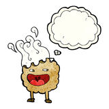 χαρακτήρας κινουμένων σχεδίων μπισκότων με τη σκεπτόμενη φυσαλίδα Στοκ Εικόνες