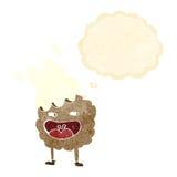 χαρακτήρας κινουμένων σχεδίων μπισκότων με τη σκεπτόμενη φυσαλίδα Στοκ Εικόνα