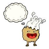 χαρακτήρας κινουμένων σχεδίων μπισκότων με τη σκεπτόμενη φυσαλίδα Στοκ Φωτογραφίες