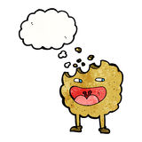 χαρακτήρας κινουμένων σχεδίων μπισκότων με τη σκεπτόμενη φυσαλίδα Στοκ Φωτογραφία