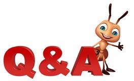 χαρακτήρας κινουμένων σχεδίων μυρμηγκιών διασκέδασης με το σημάδι του Q & Α απεικόνιση αποθεμάτων