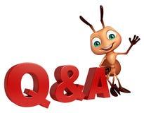 χαρακτήρας κινουμένων σχεδίων μυρμηγκιών διασκέδασης με το σημάδι του Q & Α ελεύθερη απεικόνιση δικαιώματος