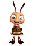 Χαρακτήρας κινουμένων σχεδίων μυρμηγκιών με το κέικ Στοκ Εικόνες