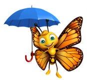 χαρακτήρας κινουμένων σχεδίων πεταλούδων διασκέδασης με την ομπρέλα διανυσματική απεικόνιση