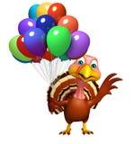 Χαρακτήρας κινουμένων σχεδίων της Τουρκίας με το baloon Στοκ φωτογραφία με δικαίωμα ελεύθερης χρήσης