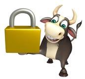 Χαρακτήρας κινουμένων σχεδίων του Bull με την κλειδαριά Στοκ Εικόνες