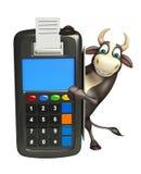 Χαρακτήρας κινουμένων σχεδίων του Bull με τη μηχανή ανταλλαγής Στοκ εικόνες με δικαίωμα ελεύθερης χρήσης