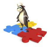 Χαρακτήρας κινουμένων σχεδίων του Bull με το γρίφο Στοκ Φωτογραφίες