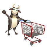 Χαρακτήρας κινουμένων σχεδίων του Bull με το καροτσάκι Στοκ Φωτογραφίες