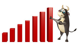 Χαρακτήρας κινουμένων σχεδίων του Bull με το σημάδι γραφικών παραστάσεων Στοκ φωτογραφίες με δικαίωμα ελεύθερης χρήσης