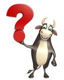 Χαρακτήρας κινουμένων σχεδίων του Bull με το σημάδι ερωτηματικών Στοκ φωτογραφίες με δικαίωμα ελεύθερης χρήσης
