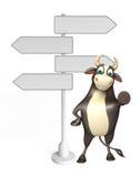 Χαρακτήρας κινουμένων σχεδίων του Bull με το σημάδι τρόπων Στοκ Εικόνες