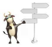 Χαρακτήρας κινουμένων σχεδίων του Bull με το σημάδι τρόπων Στοκ φωτογραφία με δικαίωμα ελεύθερης χρήσης