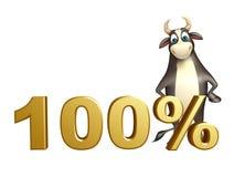 Χαρακτήρας κινουμένων σχεδίων του Bull με το σημάδι 100% Στοκ εικόνα με δικαίωμα ελεύθερης χρήσης