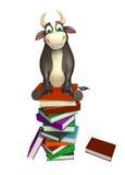 Χαρακτήρας κινουμένων σχεδίων του Bull με το σωρό βιβλίων Στοκ Εικόνες