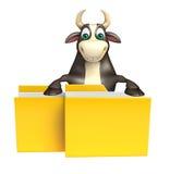 Χαρακτήρας κινουμένων σχεδίων του Bull με το φάκελλο Στοκ φωτογραφίες με δικαίωμα ελεύθερης χρήσης