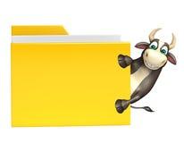 Χαρακτήρας κινουμένων σχεδίων του Bull με το φάκελλο Στοκ Εικόνες