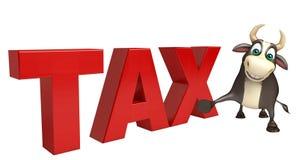 Χαρακτήρας κινουμένων σχεδίων του Bull με το φορολογικό σημάδι Στοκ Εικόνες
