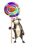 Χαρακτήρας κινουμένων σχεδίων του Bull με το lollypop Στοκ φωτογραφία με δικαίωμα ελεύθερης χρήσης