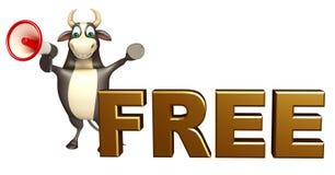 Χαρακτήρας κινουμένων σχεδίων του Bull με το loudseaker και ελεύθερος Στοκ Εικόνες