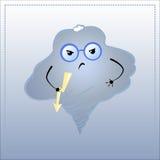 Χαρακτήρας κινουμένων σχεδίων 0 Χαριτωμένο σύννεφο στα γυαλιά με την ελαφριά απεικόνιση λάμψης διανυσματική απεικόνιση