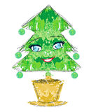 Χαρακτήρας κινουμένων σχεδίων χριστουγεννιάτικων δέντρων Στοκ εικόνα με δικαίωμα ελεύθερης χρήσης