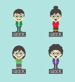 Χαρακτήρας κινουμένων σχεδίων Geek - σύνολο ελεύθερη απεικόνιση δικαιώματος