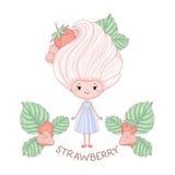 Χαρακτήρας κοριτσιών παγωτού φραουλών Στοκ Εικόνα