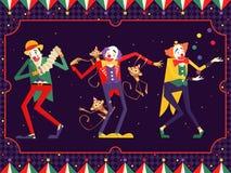 Χαρακτήρας κλόουν τσίρκων κινούμενων σχεδίων απεικόνιση Στοκ Εικόνες