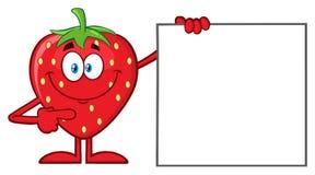 Χαρακτήρας μασκότ κινούμενων σχεδίων φρούτων φραουλών που δείχνει ένα κενό σημάδι διανυσματική απεικόνιση