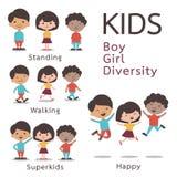 Χαρακτήρας παιδιών - σύνολο διανυσματική απεικόνιση