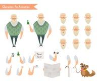 Χαρακτήρας παππούδων για τις σκηνές Στοκ Φωτογραφίες