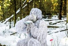 Χαρακτήρας παραμυθιού Yeti φωτογραφία χειμερινής στη δασική υπαίθρια φαντασίας Στοκ εικόνα με δικαίωμα ελεύθερης χρήσης