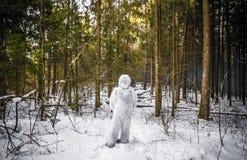 Χαρακτήρας παραμυθιού Yeti φωτογραφία χειμερινής στη δασική υπαίθρια φαντασίας Στοκ Εικόνες