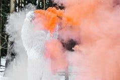 Χαρακτήρας παραμυθιού Yeti φωτογραφία χειμερινής στη δασική υπαίθρια φαντασίας Στοκ εικόνες με δικαίωμα ελεύθερης χρήσης
