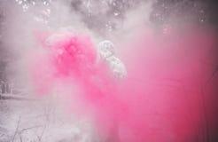 Χαρακτήρας παραμυθιού Yeti φωτογραφία χειμερινής στη δασική υπαίθρια φαντασίας Στοκ Φωτογραφία