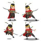 Χαρακτήρας πολεμιστών τεθωρακισμένων της Κίνας - σύνολο διανυσματική απεικόνιση
