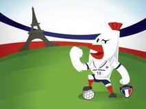 Χαρακτήρας ποδοσφαίρου κοτόπουλου στη Γαλλία Στοκ Εικόνα
