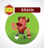 Χαρακτήρας ποδοσφαίρου του Bull Στοκ εικόνες με δικαίωμα ελεύθερης χρήσης
