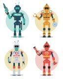 Χαρακτήρας ρομπότ - σύνολο Αστυνομία, κατασκευή, ιατρικός, ρομπότ πυροσβεστών διανυσματική απεικόνιση