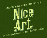 Χαρακτήρας τέχνης της Νίκαιας τύπος χαρακτήρων αναδρομικός Απομονωμένο αγγλικό αλφάβητο Στοκ Εικόνα