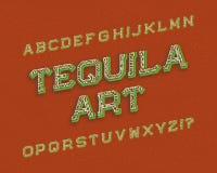Χαρακτήρας τέχνης Tequila τύπος χαρακτήρων αναδρομικός Απομονωμένο αγγλικό αλφάβητο ελεύθερη απεικόνιση δικαιώματος