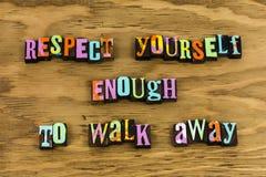 Χαρακτήρας τοποθέτησης σεβασμού οι ίδιοι θετικός στοκ εικόνα με δικαίωμα ελεύθερης χρήσης