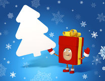 Χαρακτήρας Χριστουγέννων με το χαρτόνι μηνυμάτων Στοκ Φωτογραφία