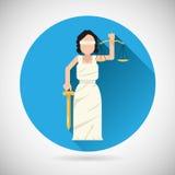 Χαρακτήρας Femida Themis με τις κλίμακες και το εικονίδιο ξιφών απεικόνιση αποθεμάτων